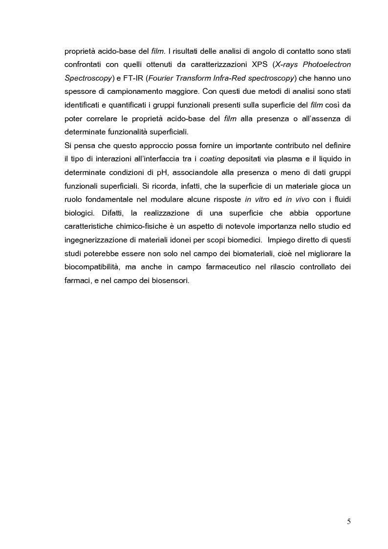 Anteprima della tesi: Deposizione via plasma di film sottili con proprietà acido-base variabili, Pagina 2
