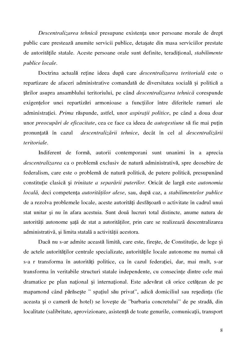 Anteprima della tesi: Conceptul autonomiei locale si controlul ierarhic, Pagina 8