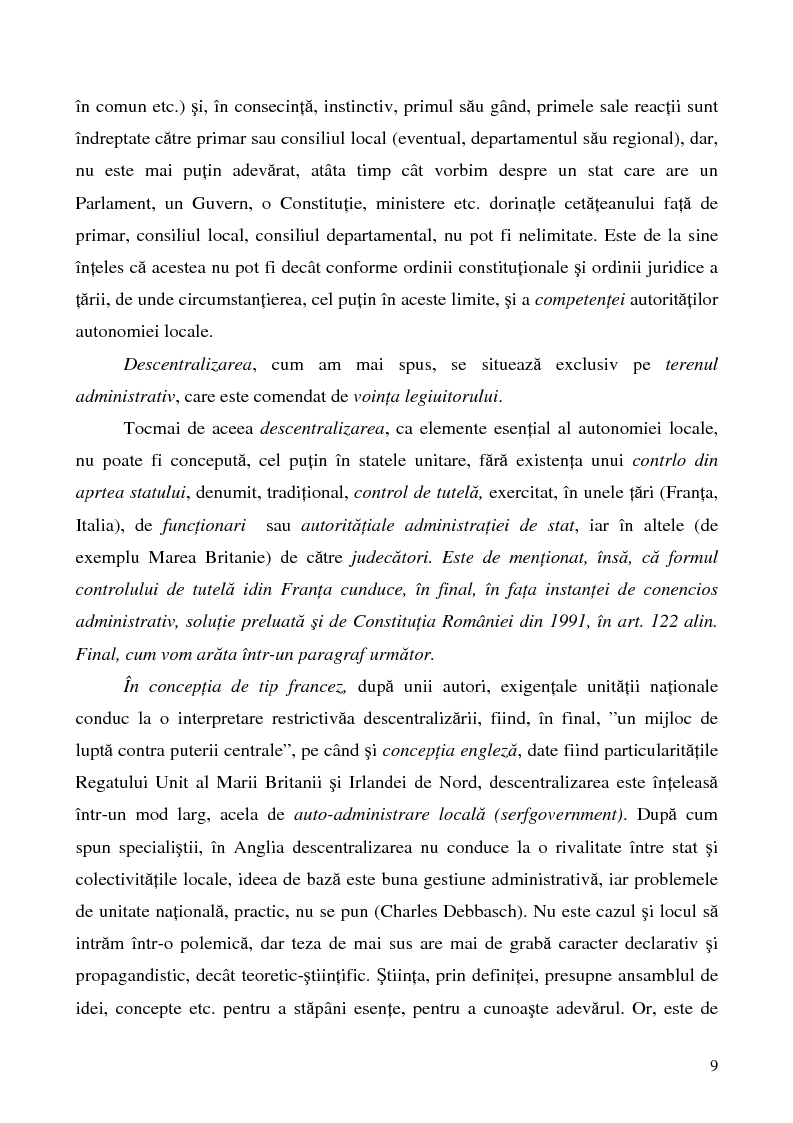 Anteprima della tesi: Conceptul autonomiei locale si controlul ierarhic, Pagina 9