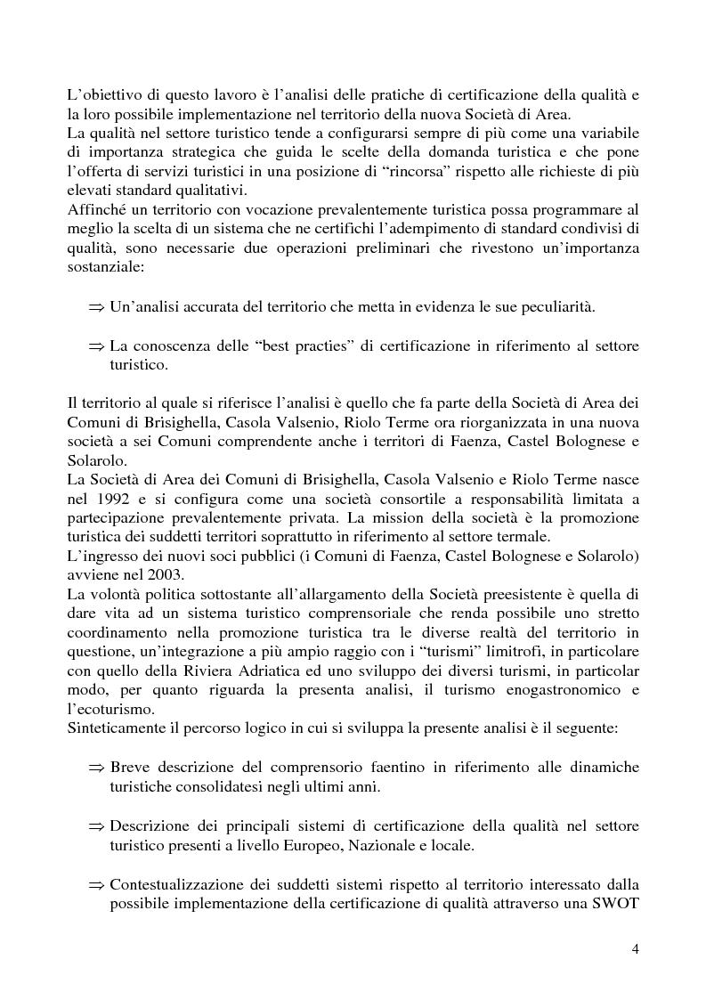 Anteprima della tesi: Analisi dei sistemi di certificazione di qualità in ambito turistico - La bandiera arancione per il territorio della Società di Area ''Terre di Faenza'', Pagina 2