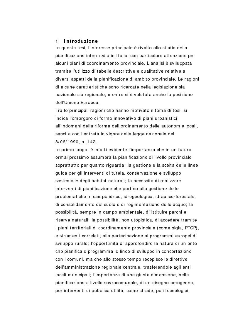 Anteprima della tesi: La pianificazione territoriale di coordinamento in Italia. Un'analisi comparativa sui piani provinciali., Pagina 1