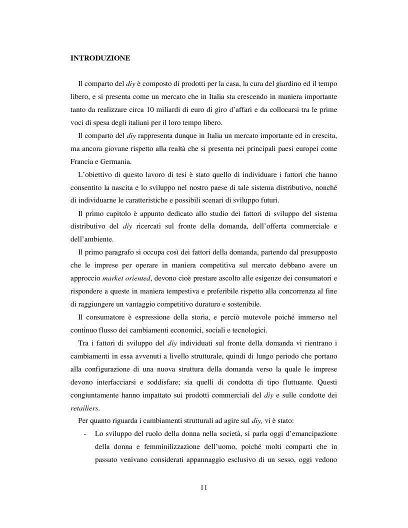 Anteprima della tesi: L'evoluzione del sistema distributivo nel mercato del do it yourself, Pagina 1