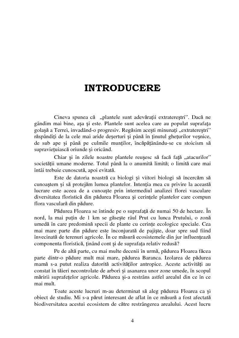 Anteprima della tesi: Analiza florei vasculare din padurea Floarea, Pagina 1