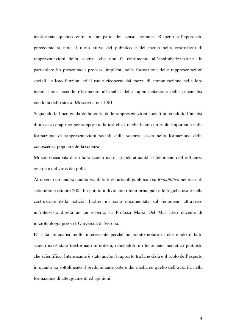 Anteprima della tesi: La rappresentazione massmediatica della scienza: analisi di un caso empirico, Pagina 2