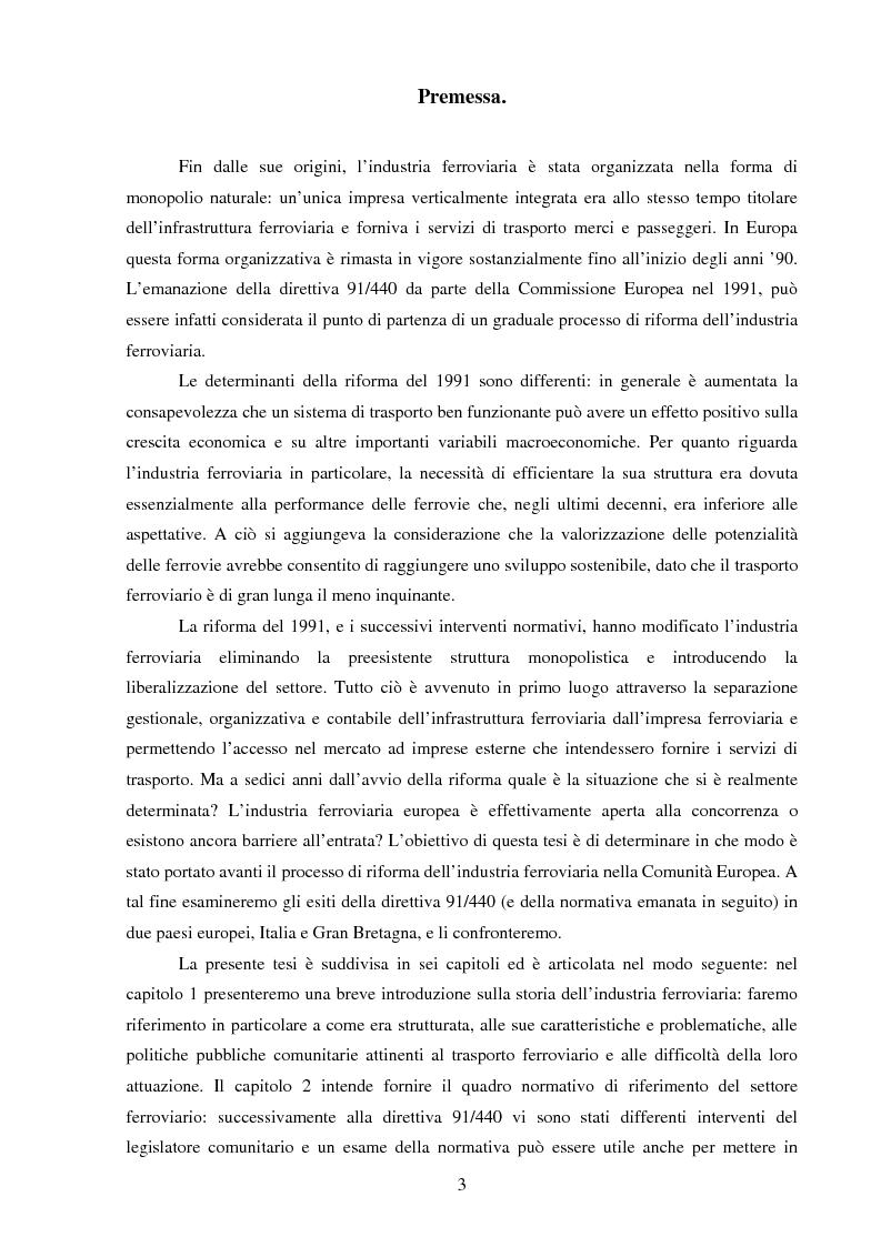 Anteprima della tesi: L'industria ferroviaria nell'Unione Europea dopo la riforma del 1991: un confronto tra l'Italia e la Gran Bretagna., Pagina 1