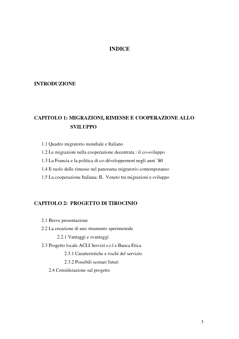 Indice della tesi: Il migrante come attore trasnazionale: le rimesse come fattore di co-sviluppo, Pagina 1