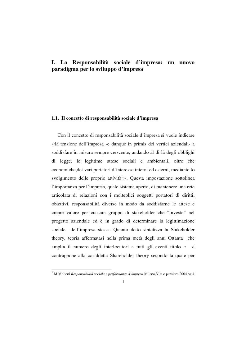 Anteprima della tesi: La Responsabilità sociale d'impresa: la sfida etica della Regione Toscana, Pagina 1