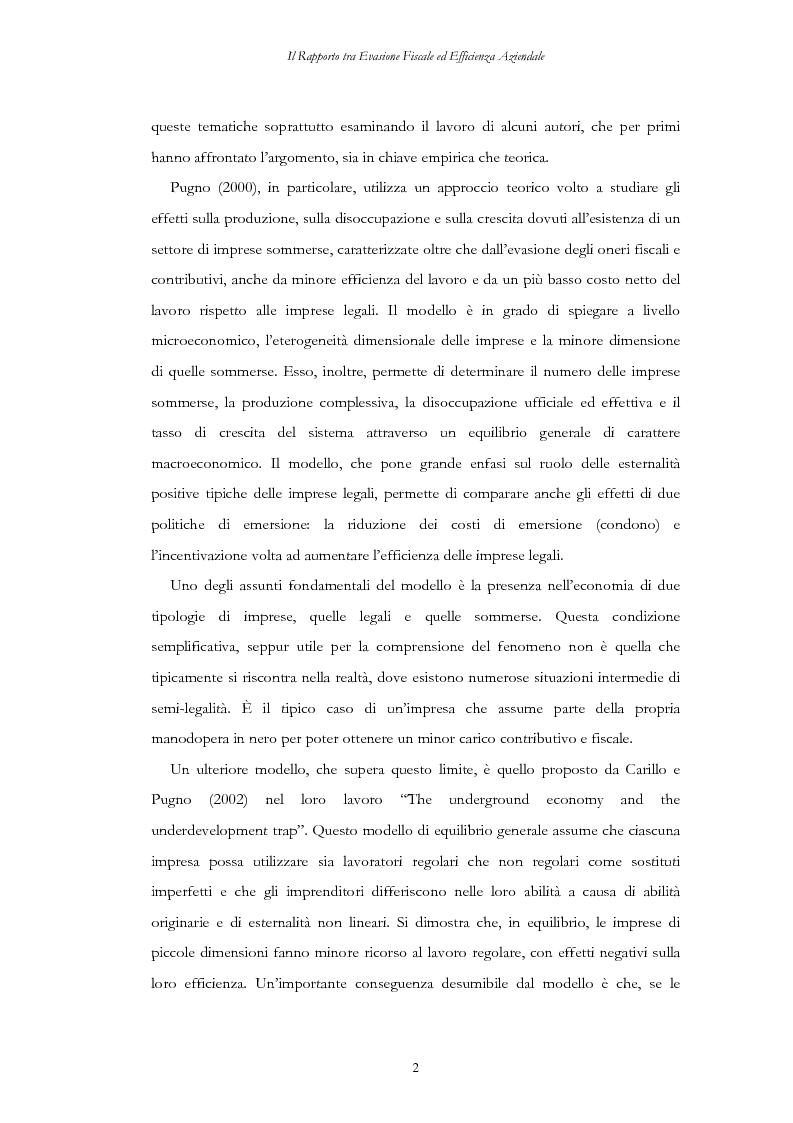 Anteprima della tesi: Il rapporto tra evasione fiscale ed efficienza aziendale. Implicazioni su crescita dimensionale, concorrenza e mercato del lavoro, Pagina 2