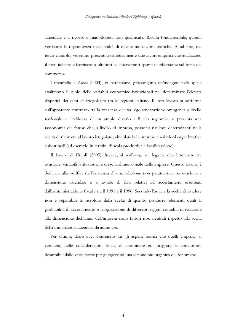 Anteprima della tesi: Il rapporto tra evasione fiscale ed efficienza aziendale. Implicazioni su crescita dimensionale, concorrenza e mercato del lavoro, Pagina 4