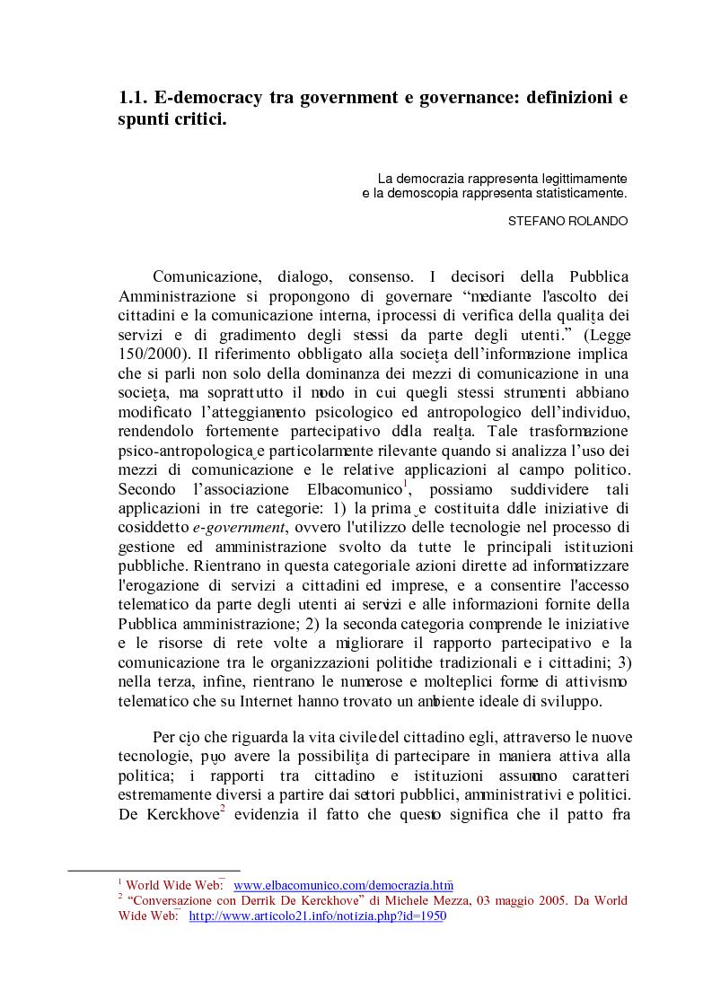 Anteprima della tesi: E-democracy come processo di coltivazione raffinata del consenso. La partecipazione ai processi decisionali nel policy making della P.A. locale, Pagina 1