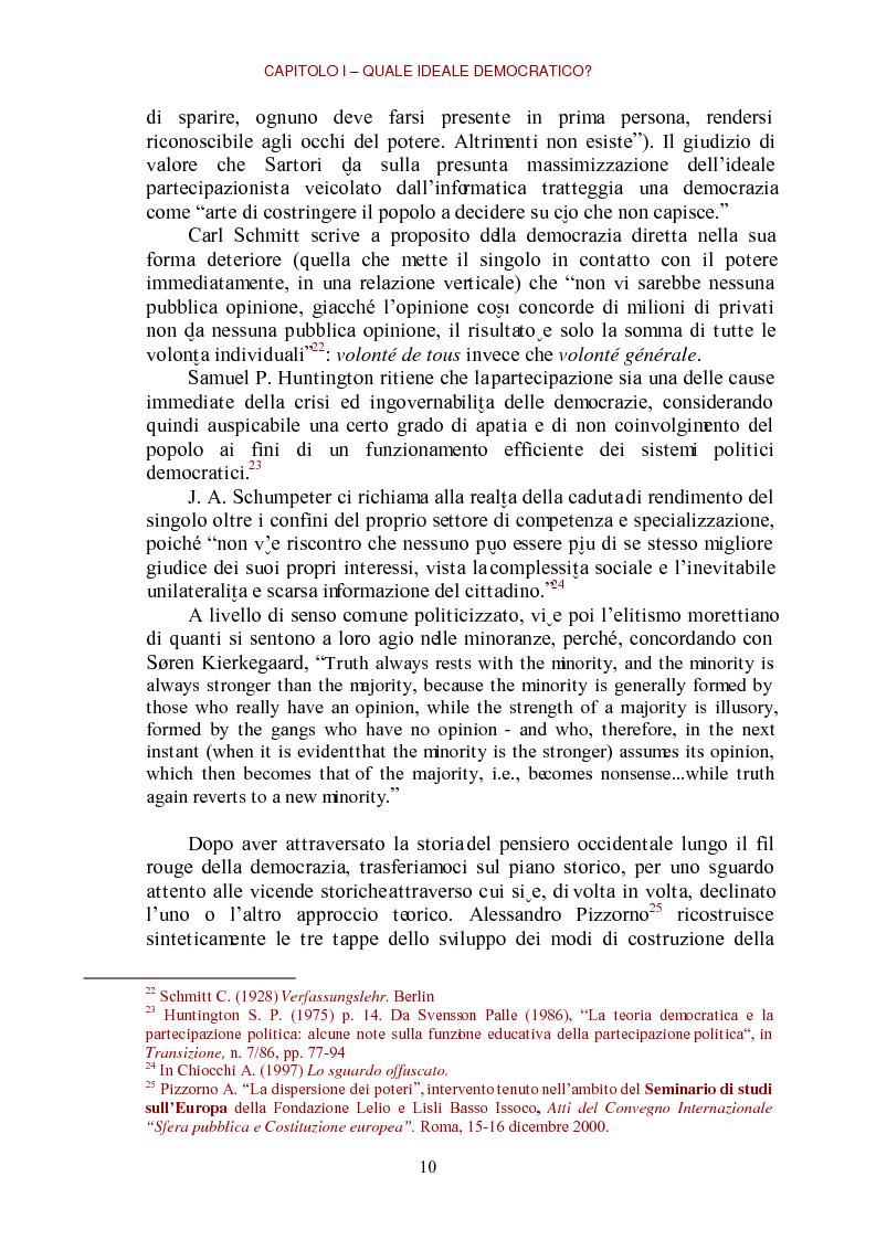 Anteprima della tesi: E-democracy come processo di coltivazione raffinata del consenso. La partecipazione ai processi decisionali nel policy making della P.A. locale, Pagina 10