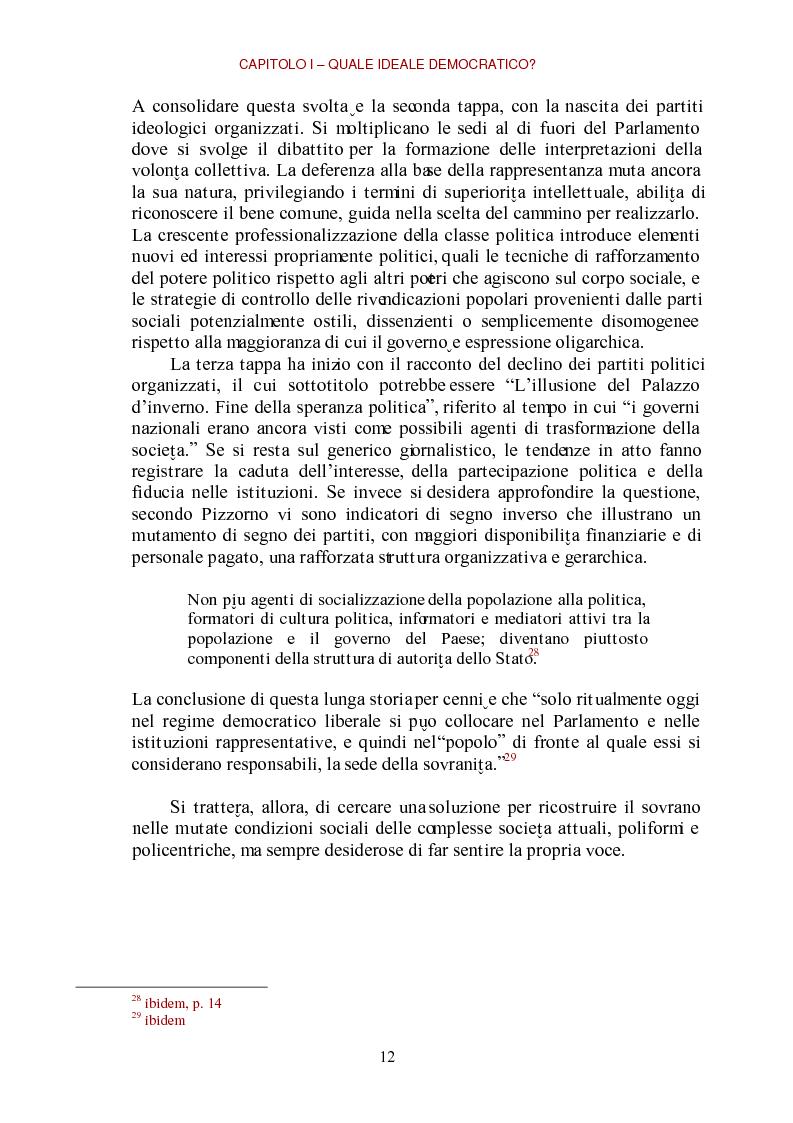 Anteprima della tesi: E-democracy come processo di coltivazione raffinata del consenso. La partecipazione ai processi decisionali nel policy making della P.A. locale, Pagina 12
