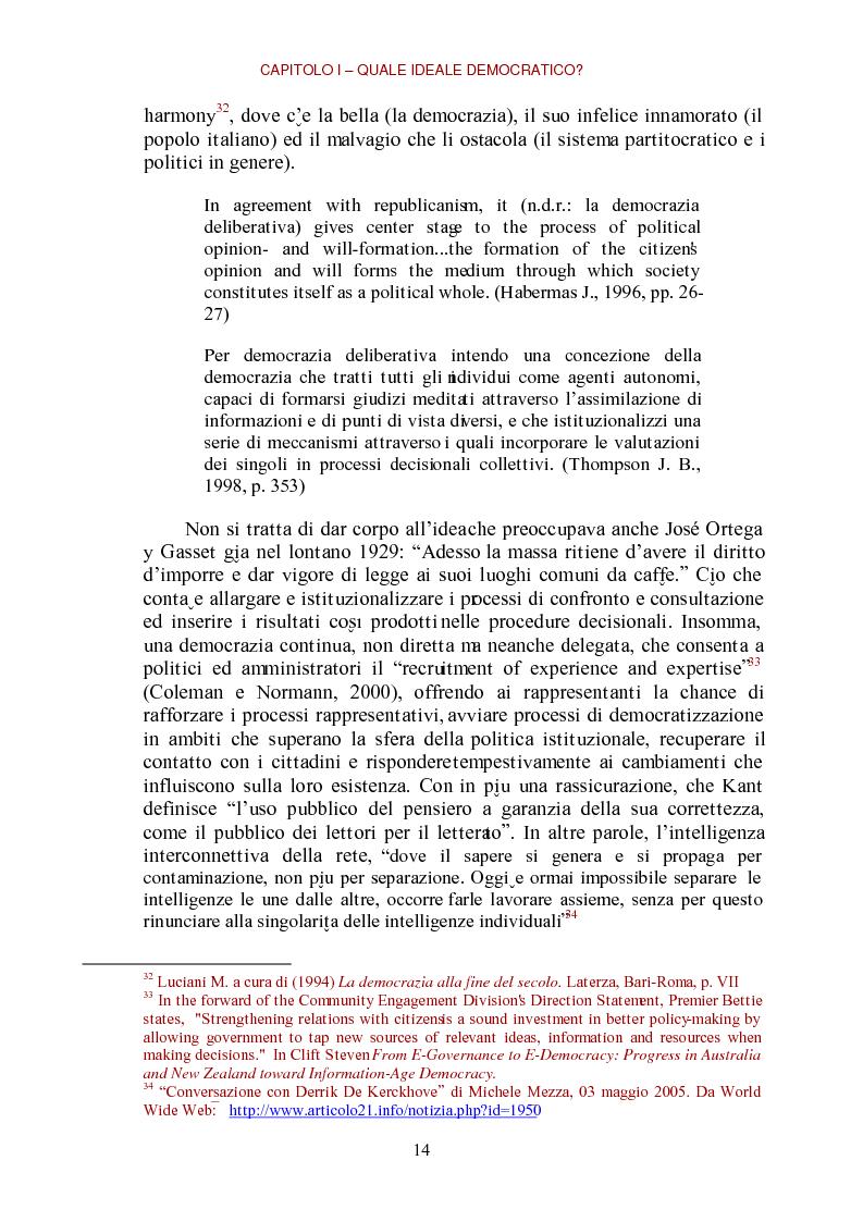 Anteprima della tesi: E-democracy come processo di coltivazione raffinata del consenso. La partecipazione ai processi decisionali nel policy making della P.A. locale, Pagina 14