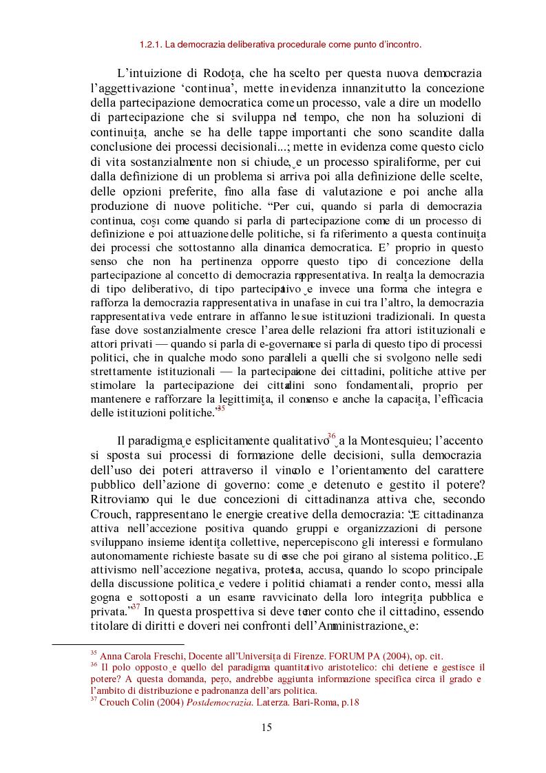 Anteprima della tesi: E-democracy come processo di coltivazione raffinata del consenso. La partecipazione ai processi decisionali nel policy making della P.A. locale, Pagina 15