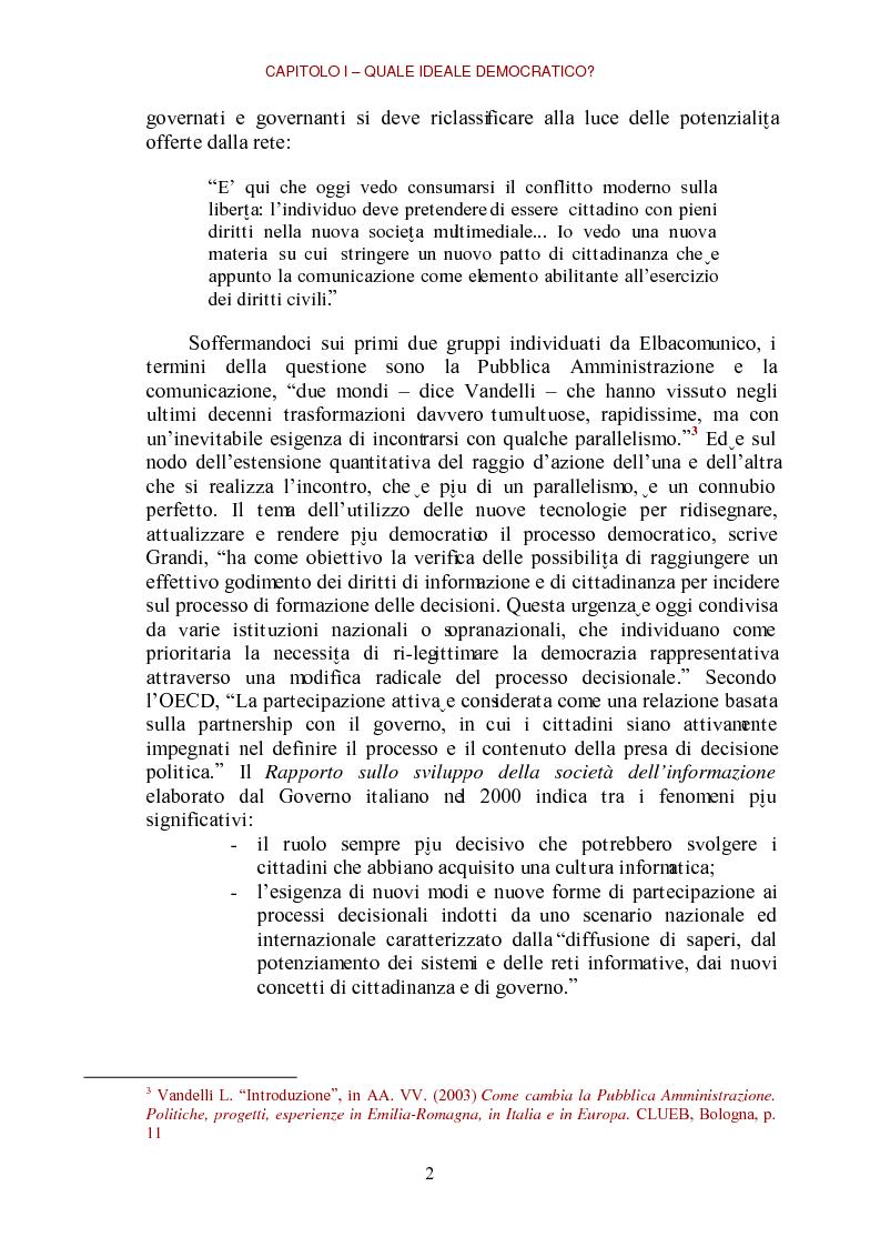 Anteprima della tesi: E-democracy come processo di coltivazione raffinata del consenso. La partecipazione ai processi decisionali nel policy making della P.A. locale, Pagina 2