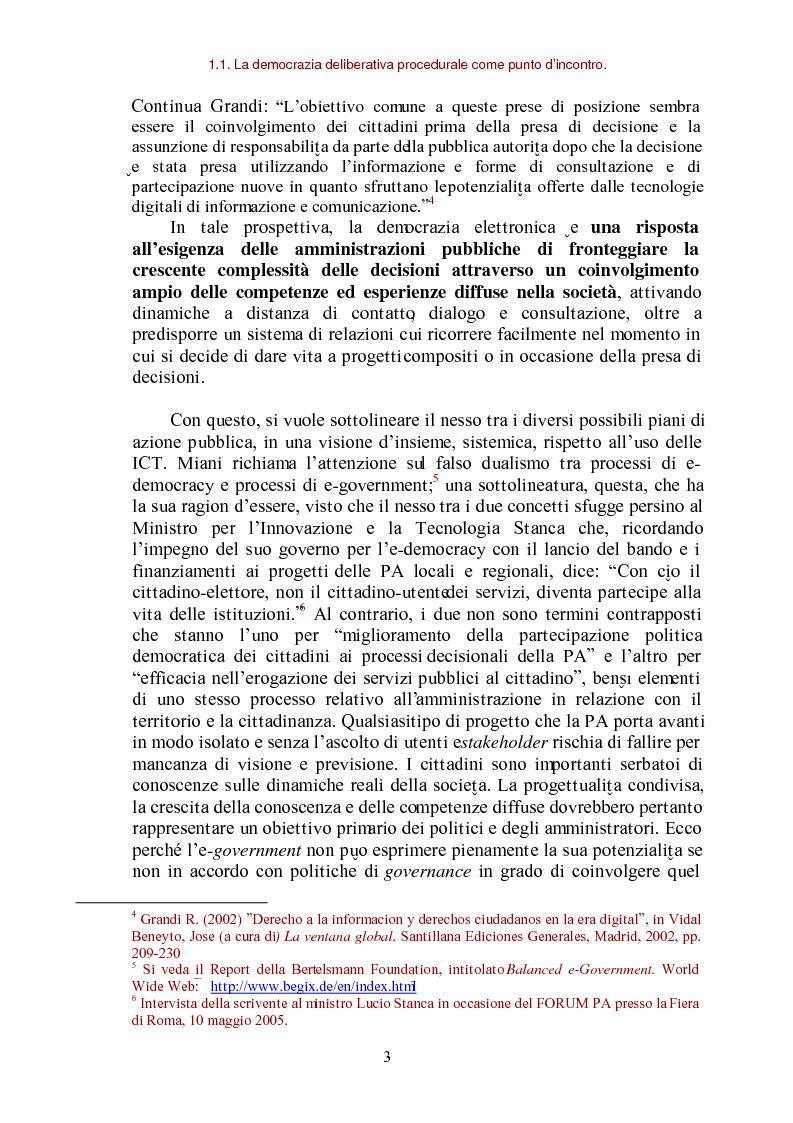 Anteprima della tesi: E-democracy come processo di coltivazione raffinata del consenso. La partecipazione ai processi decisionali nel policy making della P.A. locale, Pagina 3