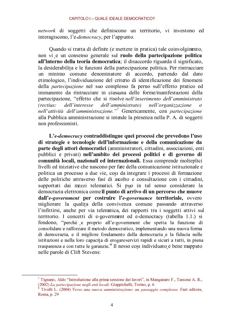 Anteprima della tesi: E-democracy come processo di coltivazione raffinata del consenso. La partecipazione ai processi decisionali nel policy making della P.A. locale, Pagina 4