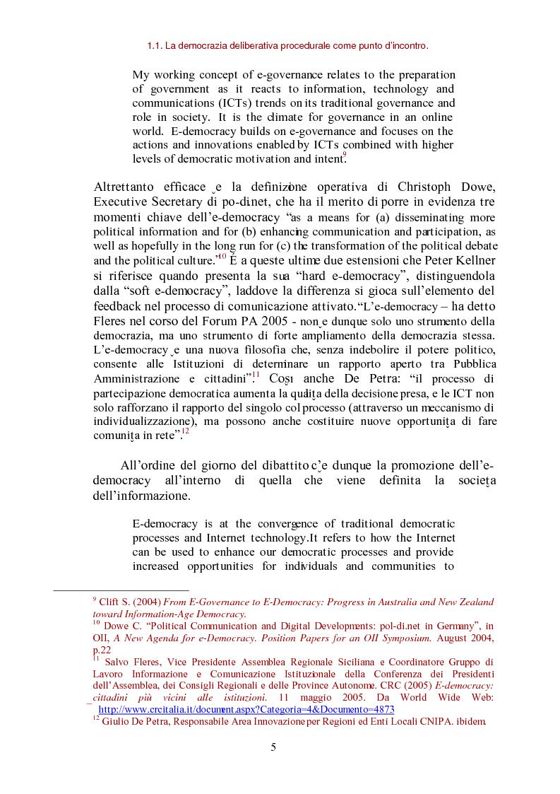 Anteprima della tesi: E-democracy come processo di coltivazione raffinata del consenso. La partecipazione ai processi decisionali nel policy making della P.A. locale, Pagina 5