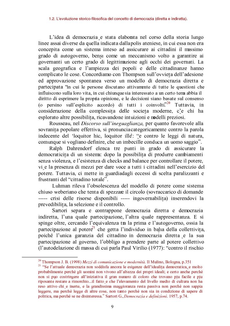 Anteprima della tesi: E-democracy come processo di coltivazione raffinata del consenso. La partecipazione ai processi decisionali nel policy making della P.A. locale, Pagina 9