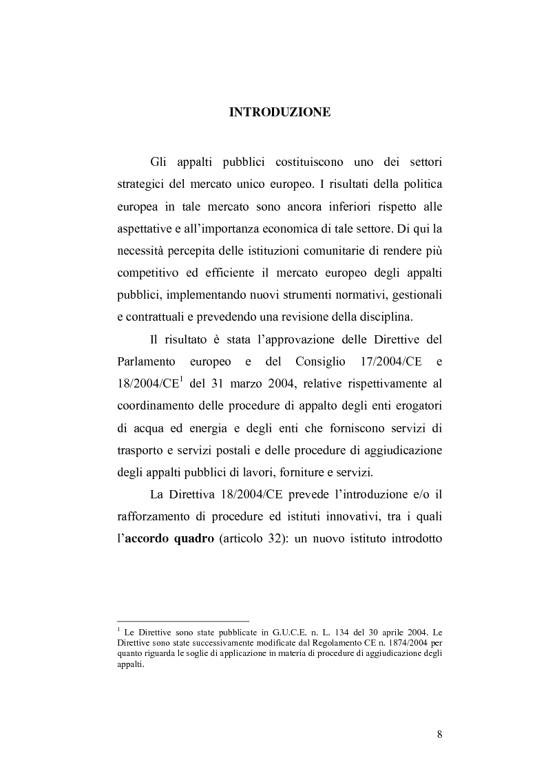 Anteprima della tesi: La nuova Direttiva sugli appalti pubblici 18/2004/CE – gli accordi quadro: aspetti economici e giuridici, Pagina 1