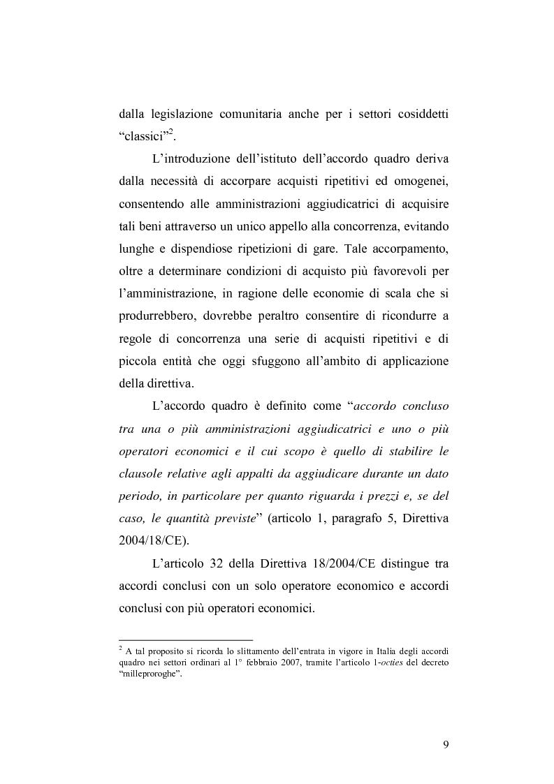 Anteprima della tesi: La nuova Direttiva sugli appalti pubblici 18/2004/CE – gli accordi quadro: aspetti economici e giuridici, Pagina 2