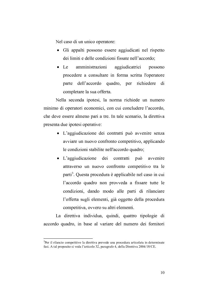 Anteprima della tesi: La nuova Direttiva sugli appalti pubblici 18/2004/CE – gli accordi quadro: aspetti economici e giuridici, Pagina 3