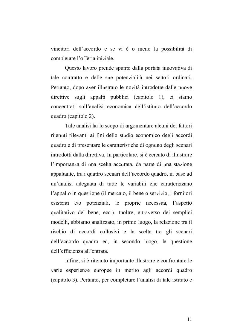 Anteprima della tesi: La nuova Direttiva sugli appalti pubblici 18/2004/CE – gli accordi quadro: aspetti economici e giuridici, Pagina 4