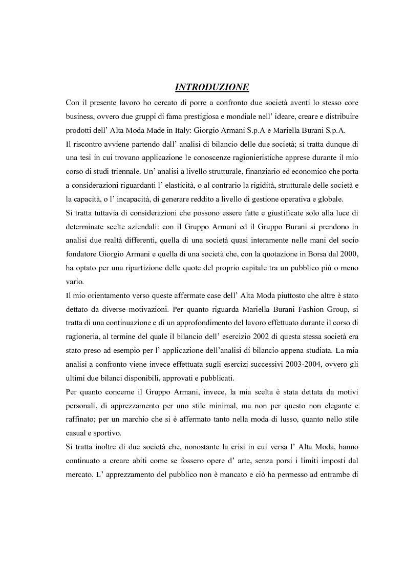 Anteprima della tesi: Giorgio Armani e Mariella Burani a confronto: analisi di bilancio, Pagina 1