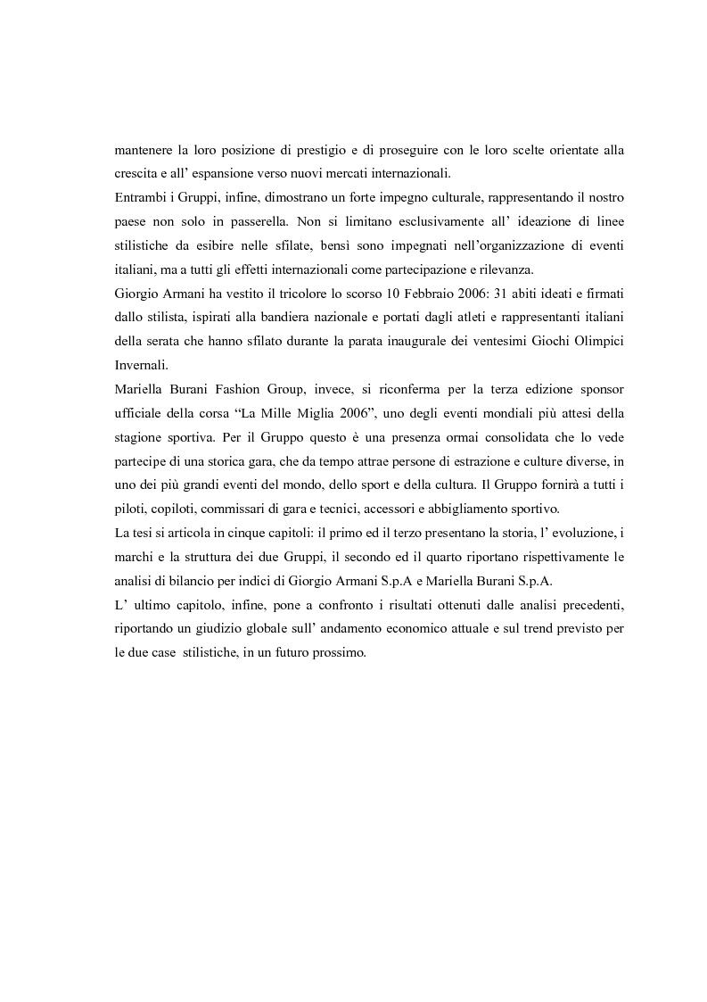 Anteprima della tesi: Giorgio Armani e Mariella Burani a confronto: analisi di bilancio, Pagina 2