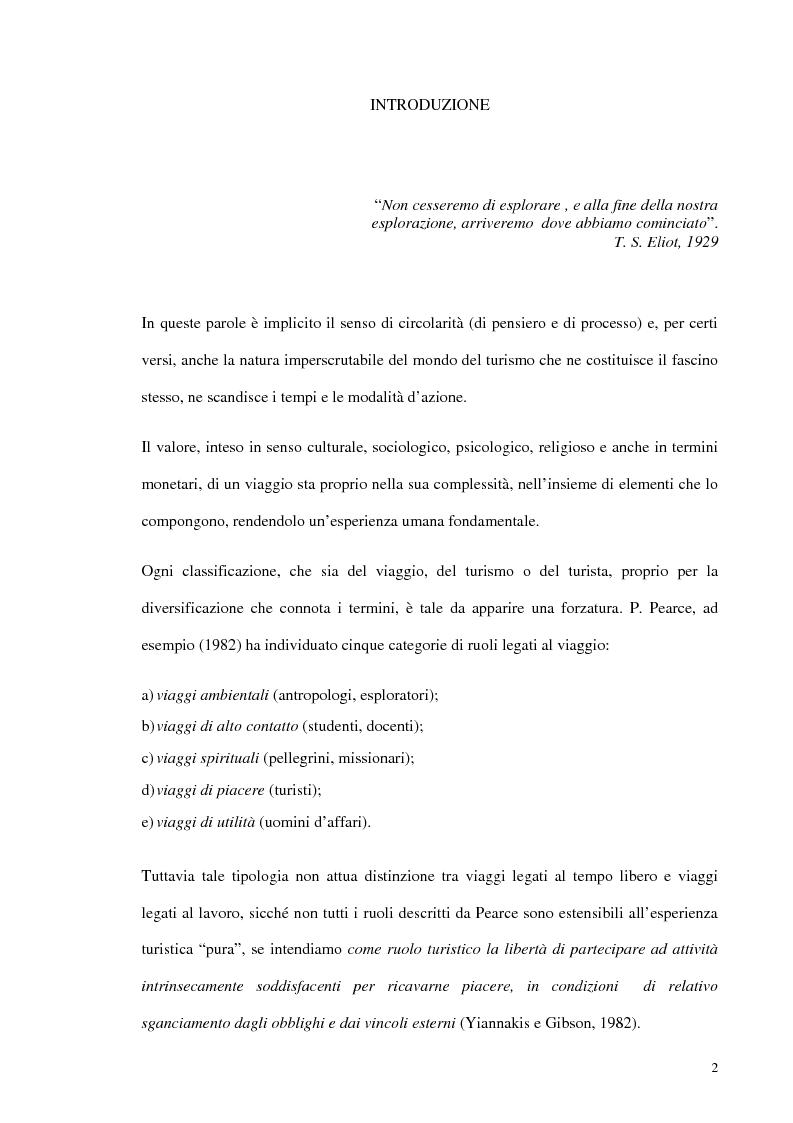 Anteprima della tesi: Psicologia del turismo e rappresentazione delle risorse del territorio: un'ipotesi di ricerca sugli operatori della provincia di Bari, Pagina 1