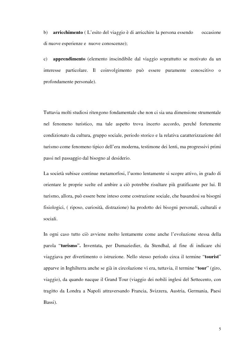 Anteprima della tesi: Psicologia del turismo e rappresentazione delle risorse del territorio: un'ipotesi di ricerca sugli operatori della provincia di Bari, Pagina 4