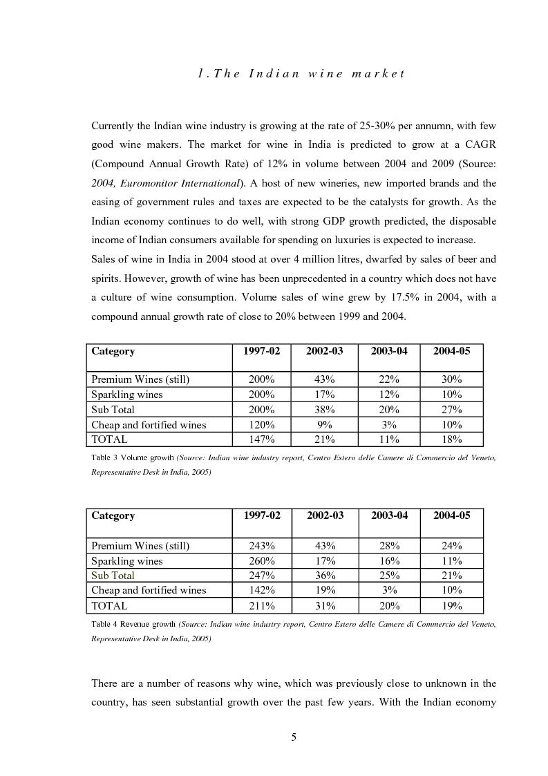 Anteprima della tesi: New Market Development for a Unique Italian Wine Brand into the Evolving Indian Market, Pagina 5