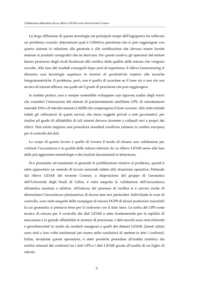 Anteprima della tesi: Validazione altimetrica di un rilievo LiDAR aereo del torrente Cormor, Pagina 2