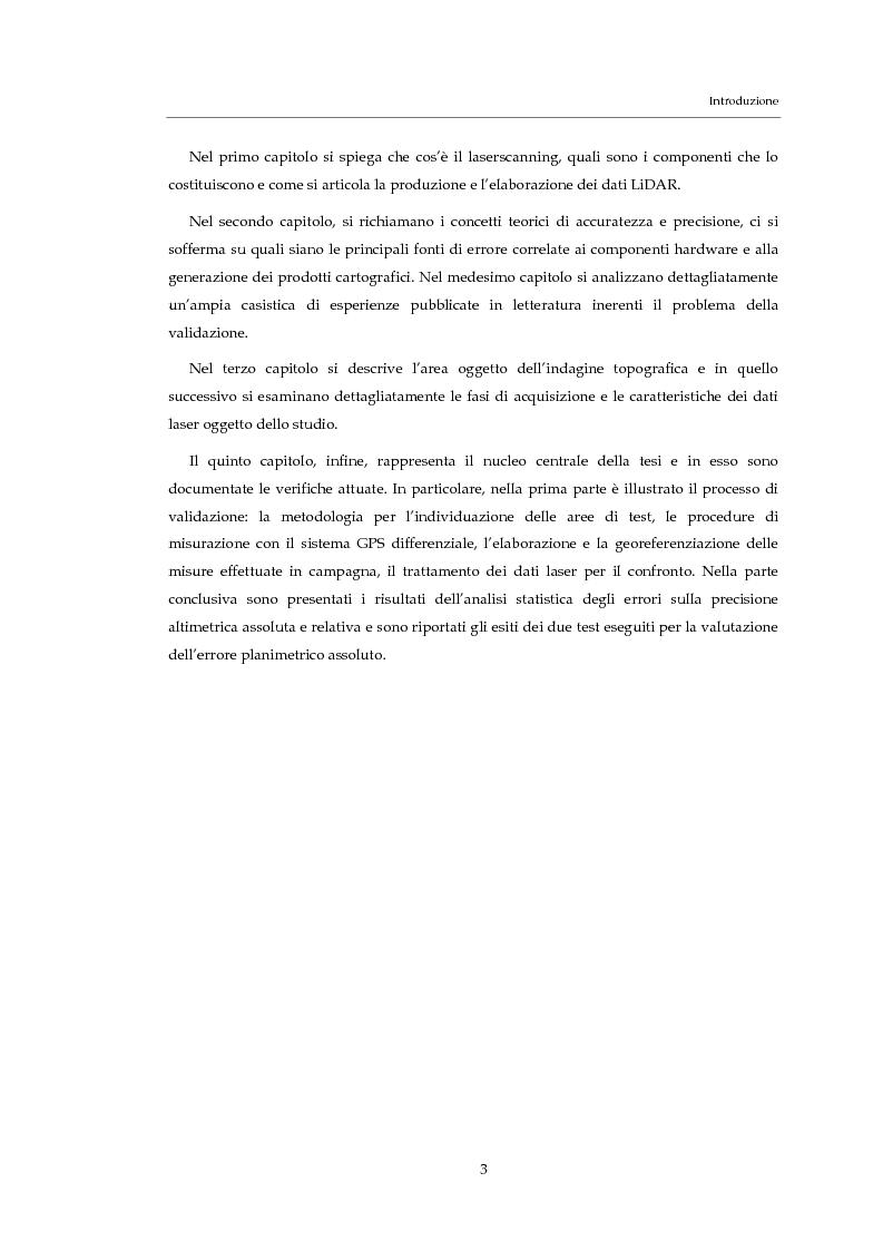 Anteprima della tesi: Validazione altimetrica di un rilievo LiDAR aereo del torrente Cormor, Pagina 3