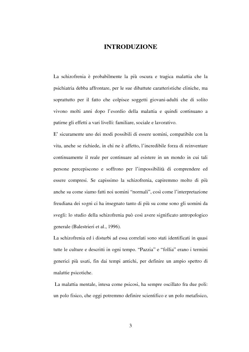 Anteprima della tesi: Esiti dell'esordio schizofrenico. Uno studio di follow-up a 5 anni nel Servizio Pubblico, Pagina 1
