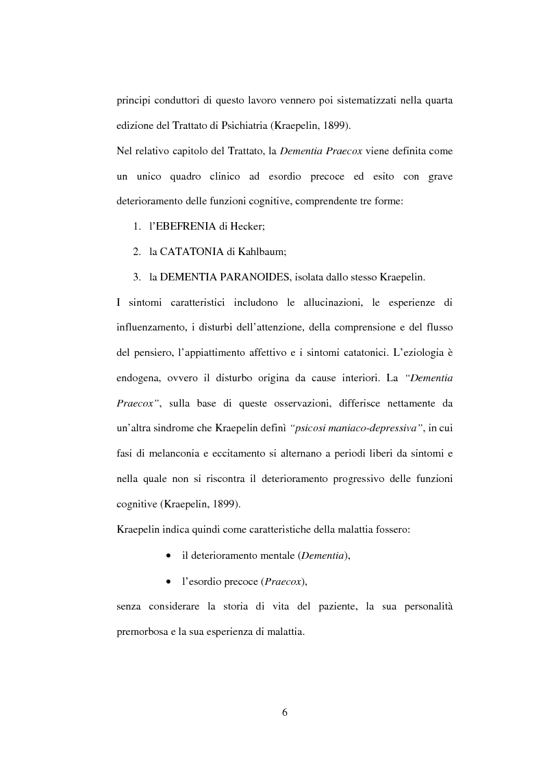 Anteprima della tesi: Esiti dell'esordio schizofrenico. Uno studio di follow-up a 5 anni nel Servizio Pubblico, Pagina 4