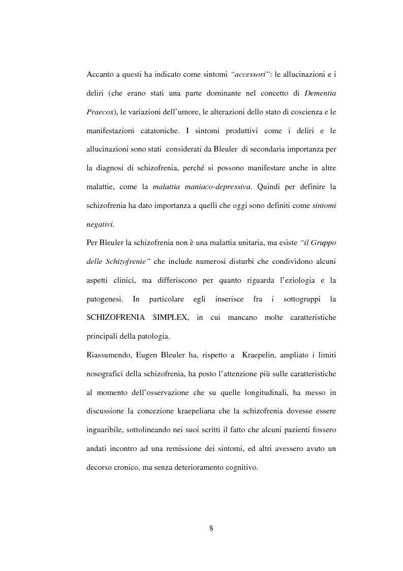 Anteprima della tesi: Esiti dell'esordio schizofrenico. Uno studio di follow-up a 5 anni nel Servizio Pubblico, Pagina 6