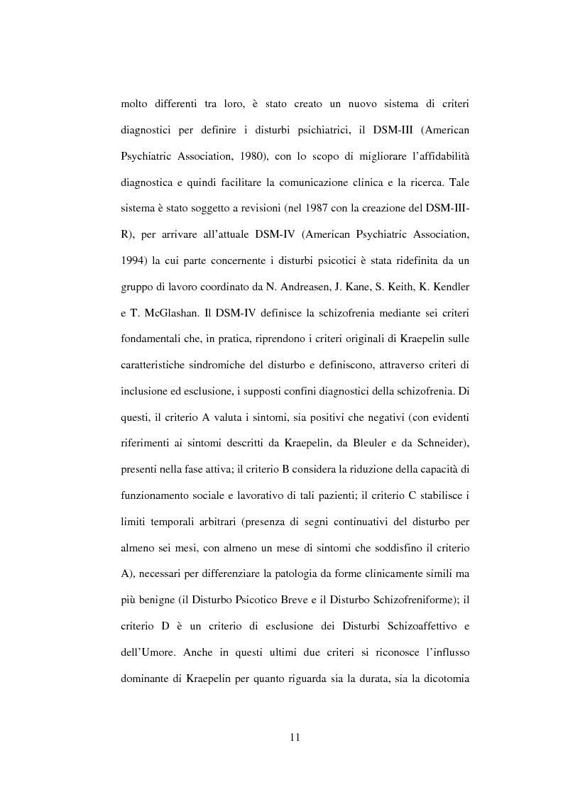 Anteprima della tesi: Esiti dell'esordio schizofrenico. Uno studio di follow-up a 5 anni nel Servizio Pubblico, Pagina 9