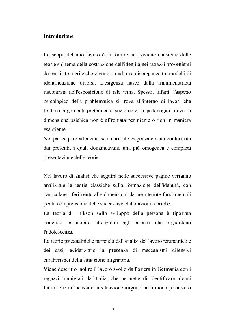 Anteprima della tesi: Dinamiche psicologiche di costruzione dell'identità in soggetti immigrati di seconda generazione, Pagina 1