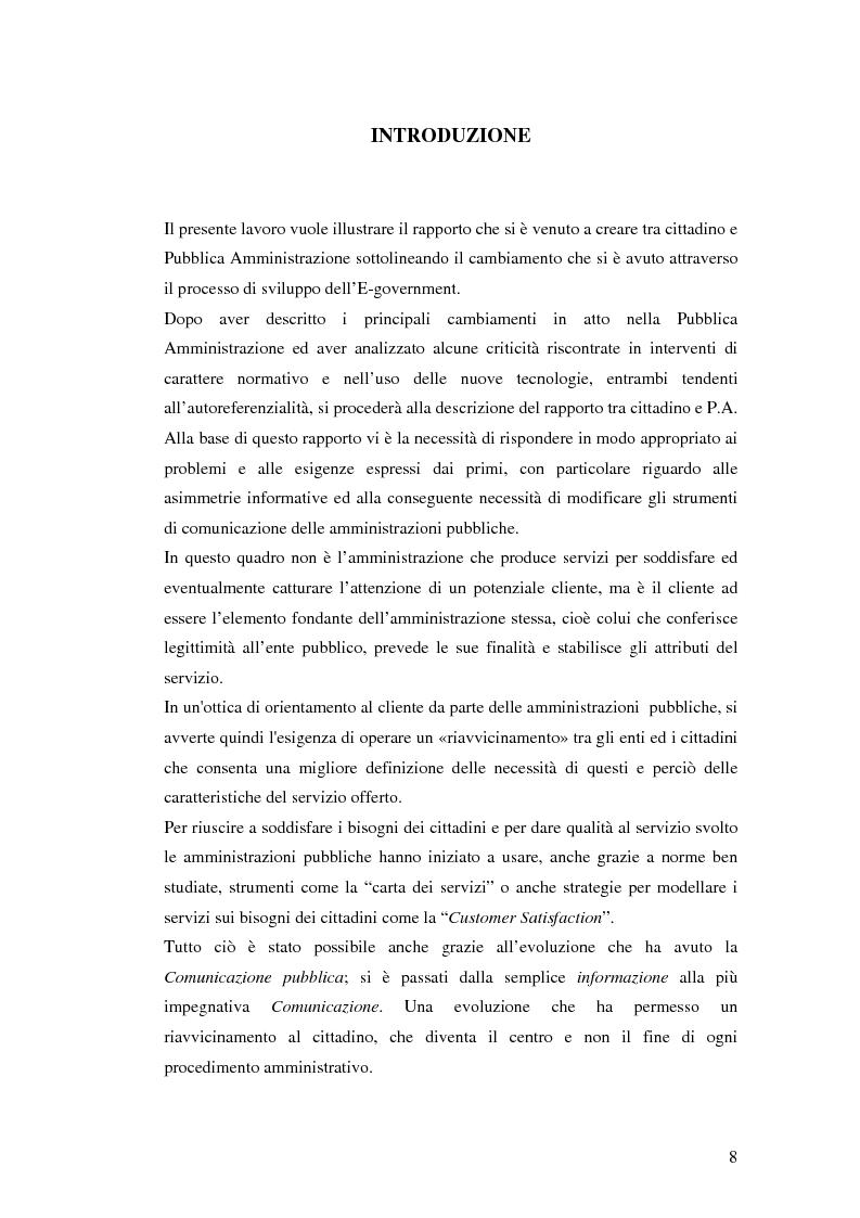 Anteprima della tesi: Il processo di sviluppo dell'E-government: il caso E-mountain Lazio, Pagina 1