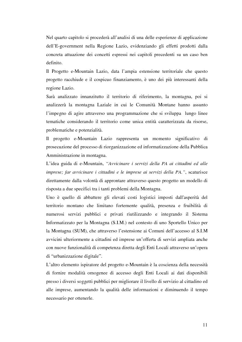 Anteprima della tesi: Il processo di sviluppo dell'E-government: il caso E-mountain Lazio, Pagina 4