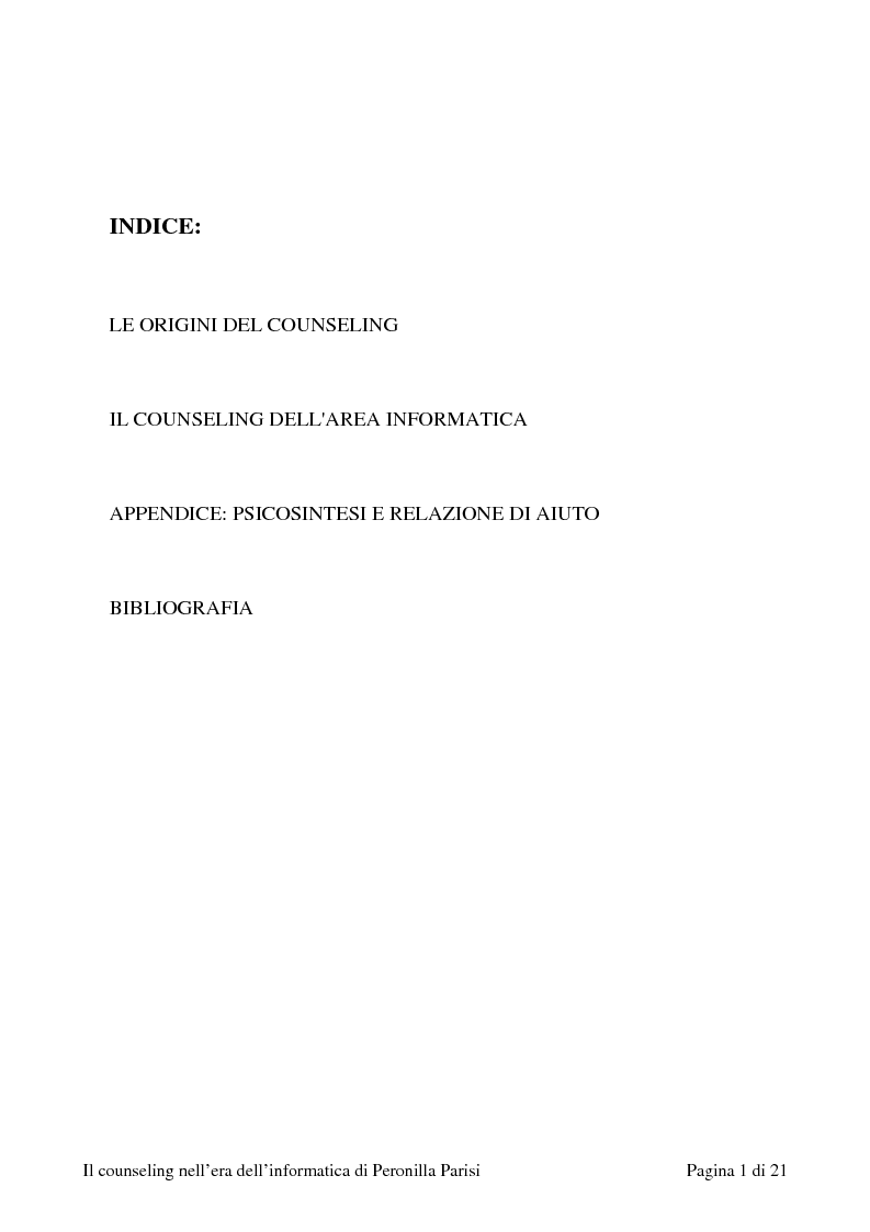 Indice della tesi: Il counselling nell'era dell'informatica, Pagina 1
