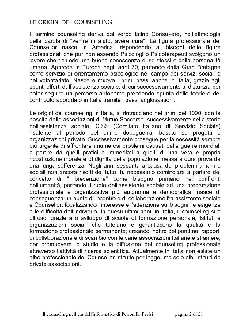 Anteprima della tesi: Il counselling nell'era dell'informatica, Pagina 1