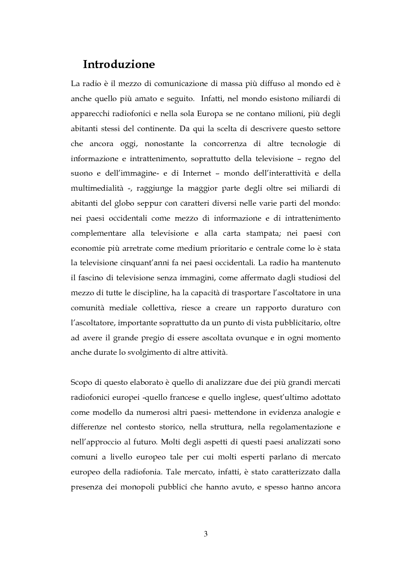 Anteprima della tesi: La radio in Europa: dinamiche del settore in Francia e in Gran Bretagna, Pagina 1