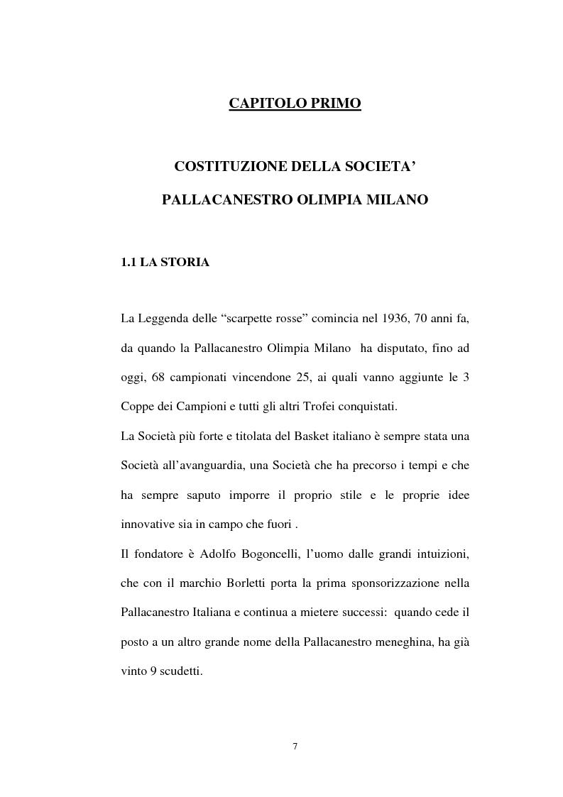 Anteprima della tesi: Pallacanestro Olimpia Milano: pianificazione e organizzazione di una stagione agonistica, Pagina 4