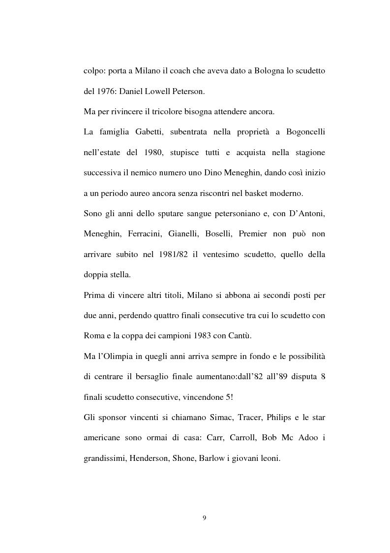 Anteprima della tesi: Pallacanestro Olimpia Milano: pianificazione e organizzazione di una stagione agonistica, Pagina 6
