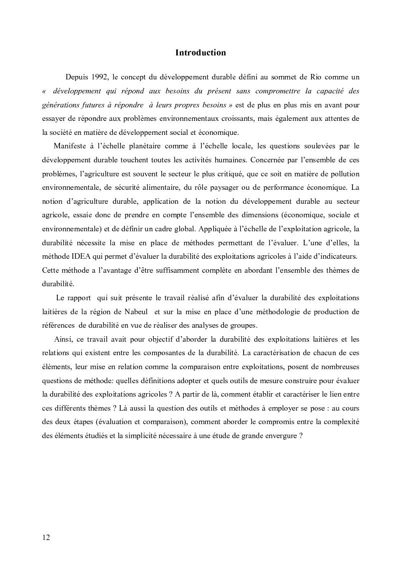 Anteprima della tesi: Evaluation de la durabilité des exploitations laitières dans le gouvernorat de Nabeul, Pagina 1
