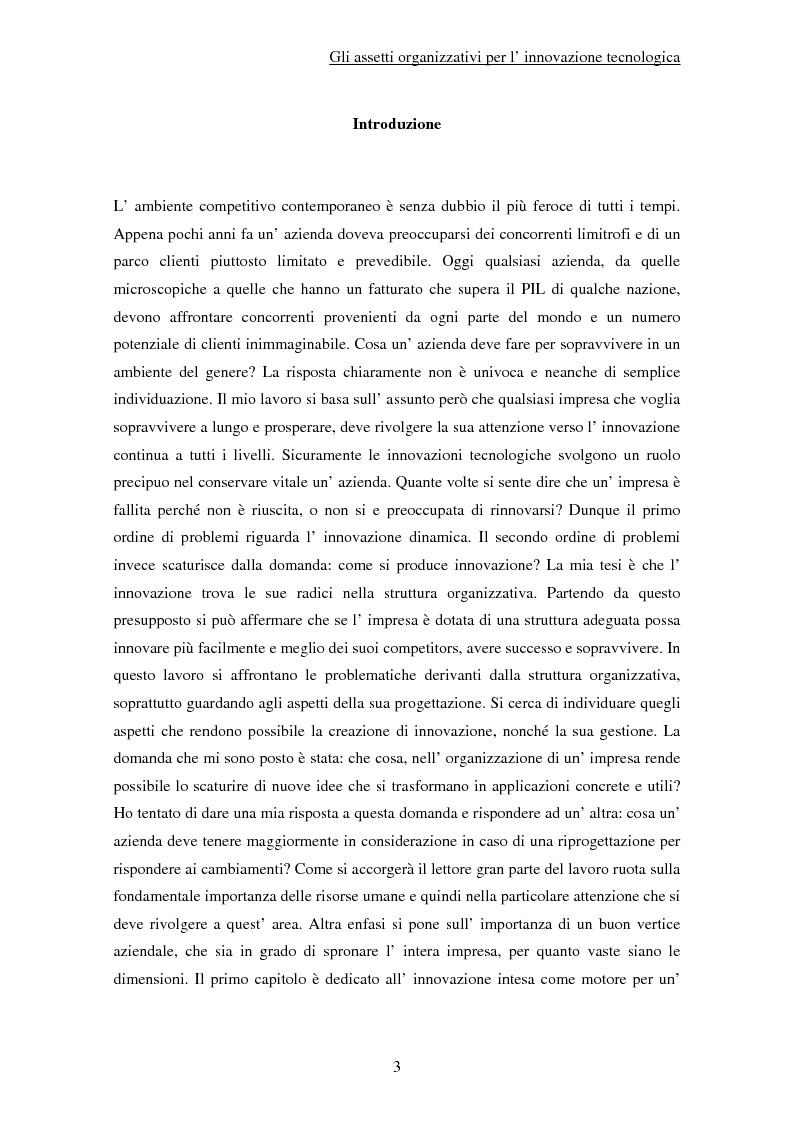 Anteprima della tesi: Gli assetti organizzativi per l'innovazione tecnologica, Pagina 1