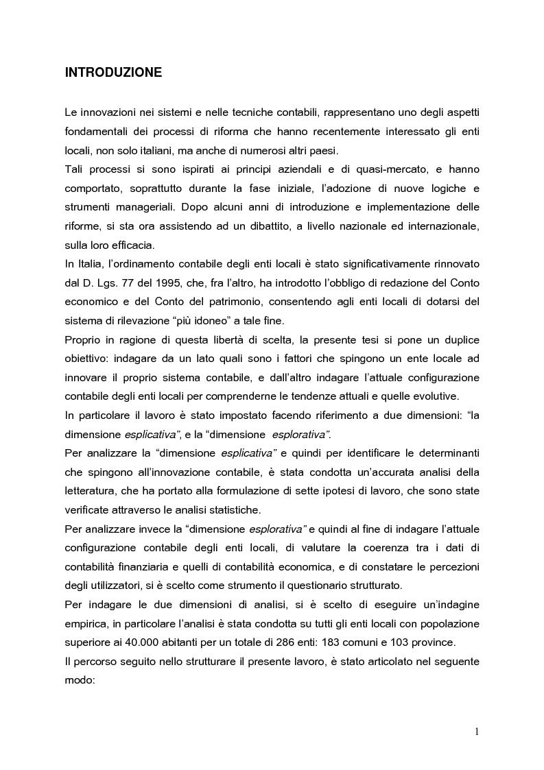 Anteprima della tesi: Determinanti nei processi di innovazione contabile negli enti locali, Pagina 1
