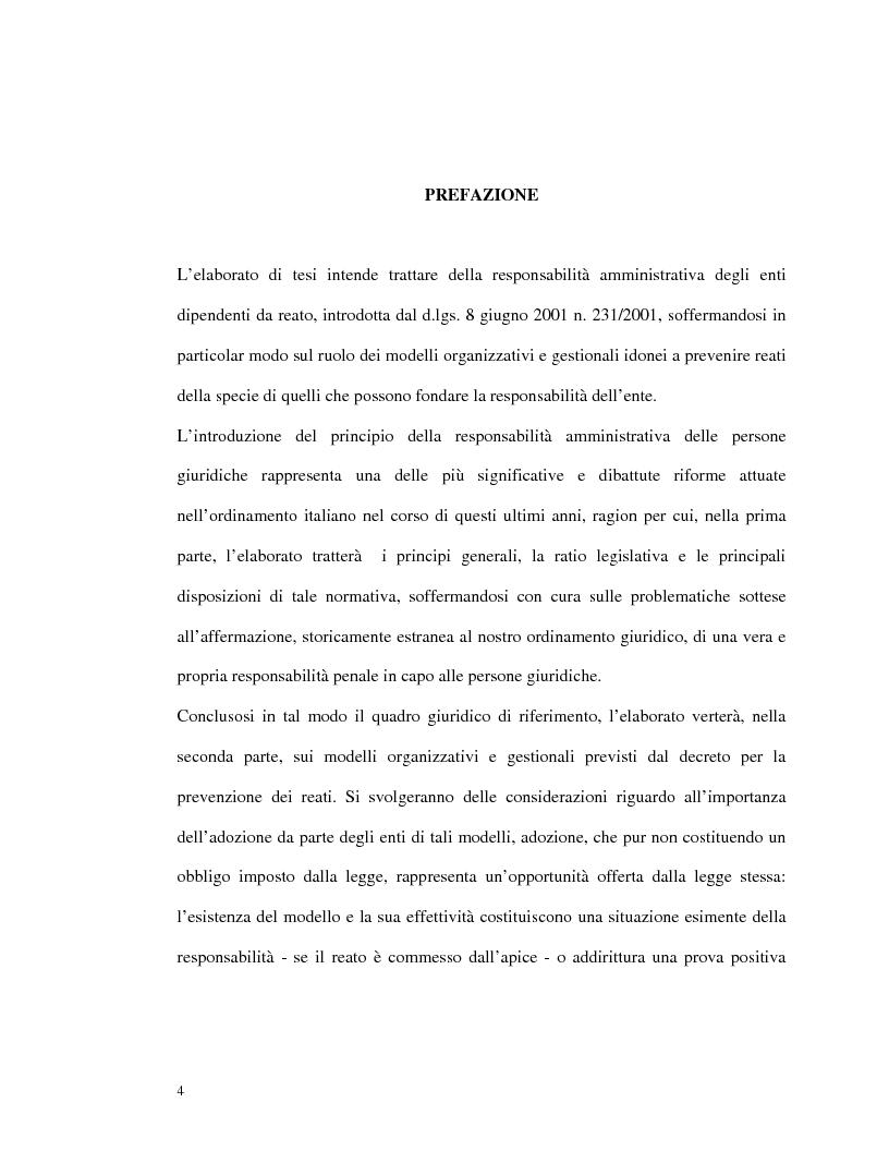 Anteprima della tesi: La responsabilità amministrativa degli enti dipendente da reato: il modello organizzativo, di gestione e di controllo, Pagina 1
